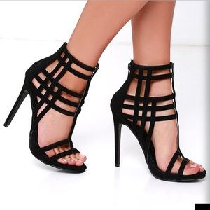 IF ONLY BLACK CAGED HEELS